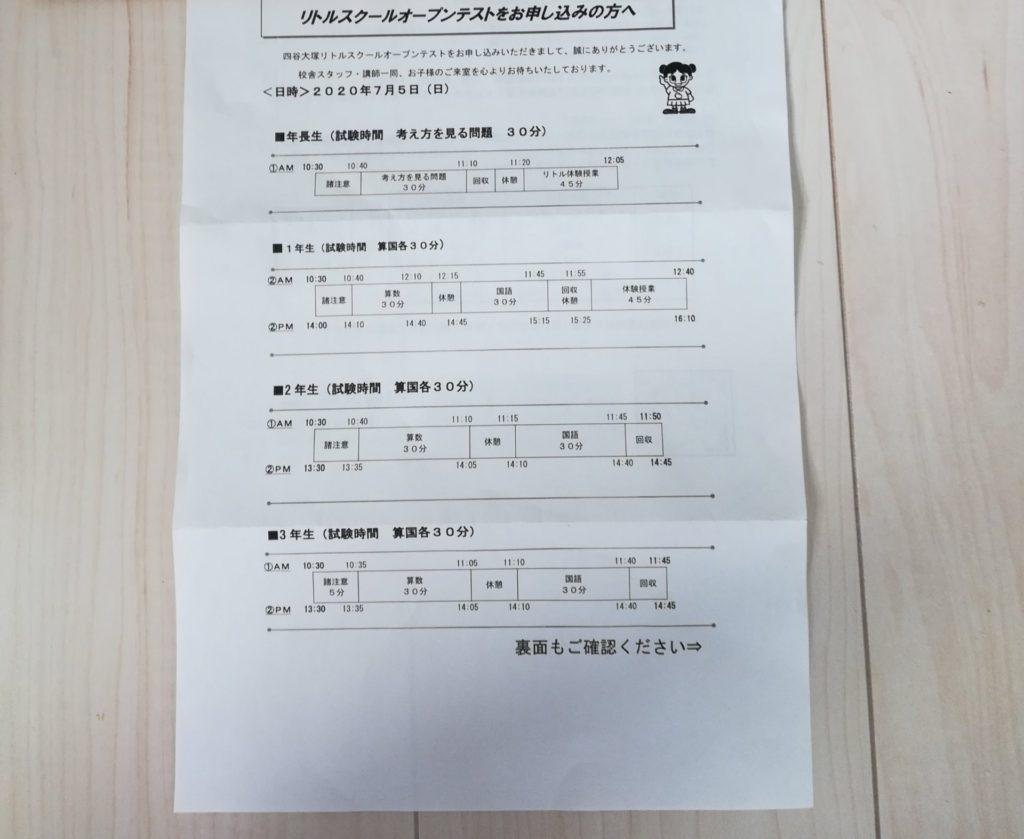 四谷大塚リトルスクールオープンテストん年長の過去問と受験票